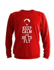 Свитшот Keep calm and go to fly красный