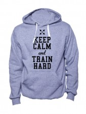 Толстовка Keep calm and train hard серая