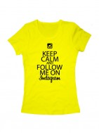 Футболка Keep calm and follow me on instagram желтая