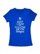 Футболка Keep calm and follow me on instagram синяя
