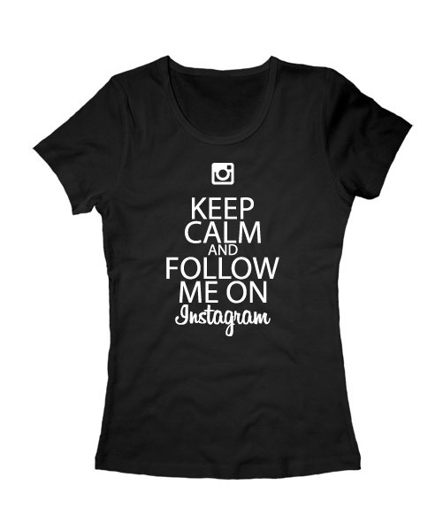 Футболка Keep calm and follow me on instagram черная