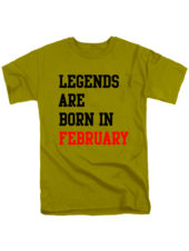 Футболка Legends are born in february оливковая