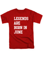 Футболка Legends are born in june красная