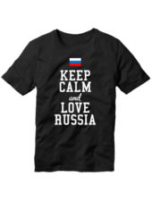 Футболка Keep calm and love Russia черная