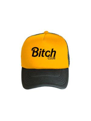 Бейсболка BITCH club черно оранжевая