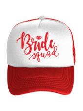 Бейсболка Bride squad бело-красная
