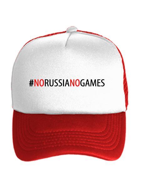 Бейсболка No Russia no games бело-красная