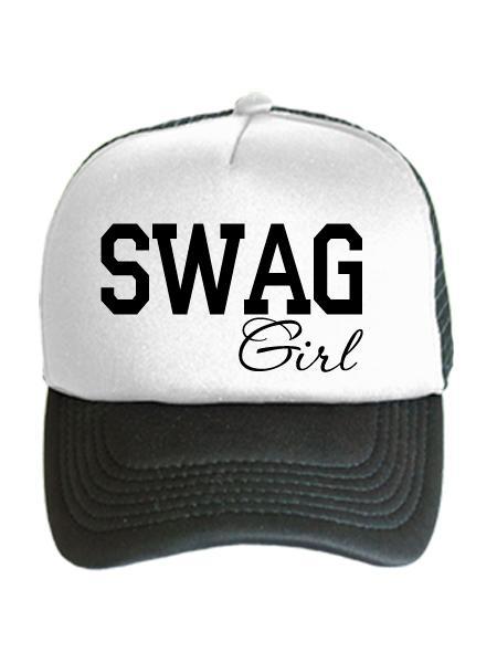 Бейсболка SWAG Girl бело-черная