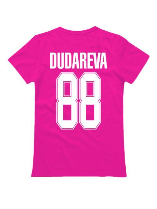 Именная женская футболка classik sport 2 розовая