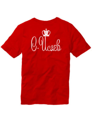 Именная футболка с короной мужская красная