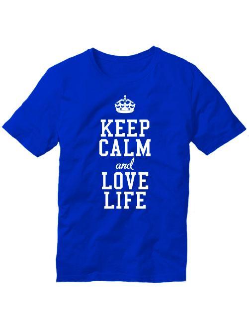 Мужская футболка Keep calm and love life синяя