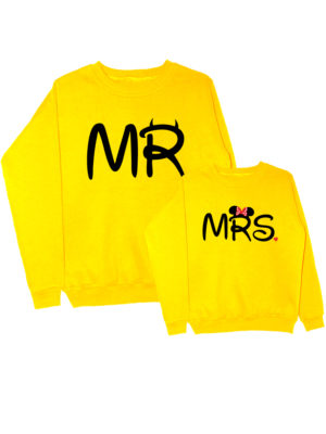 Парные свитшоты Mr-Mrs желтые