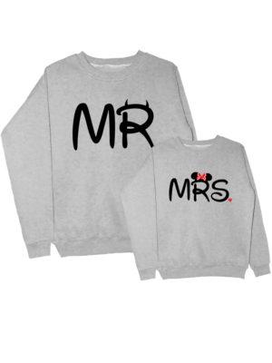 Парные свитшоты Mr-Mrs серые