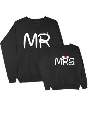 Парные свитшоты Mr-Mrs черные