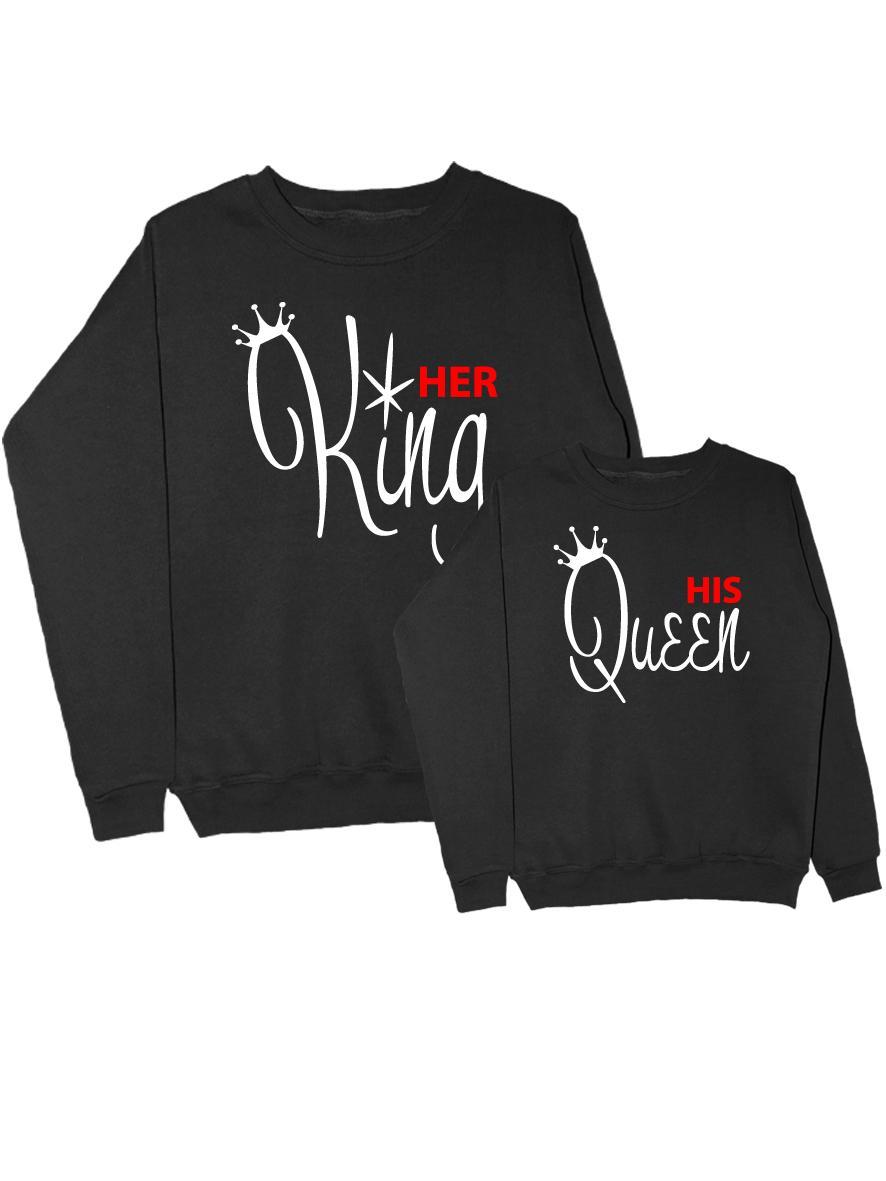 Парные свитшоты her King and his Queen черные