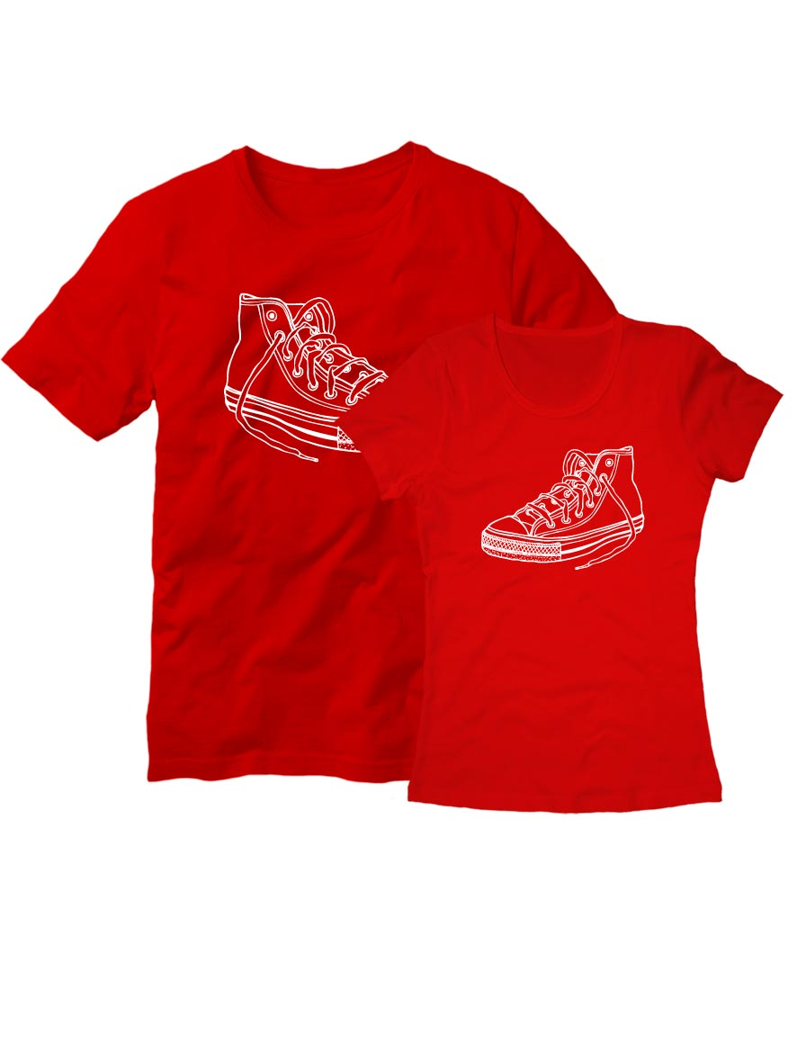 Парные футболки Два сапога пара красные