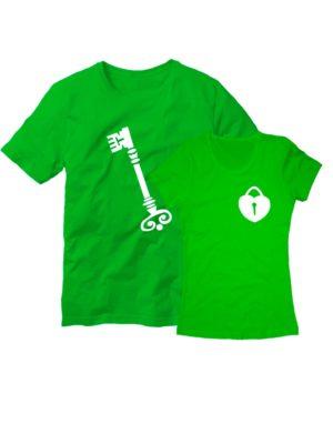 Парные футболки Ключ с замком зеленые