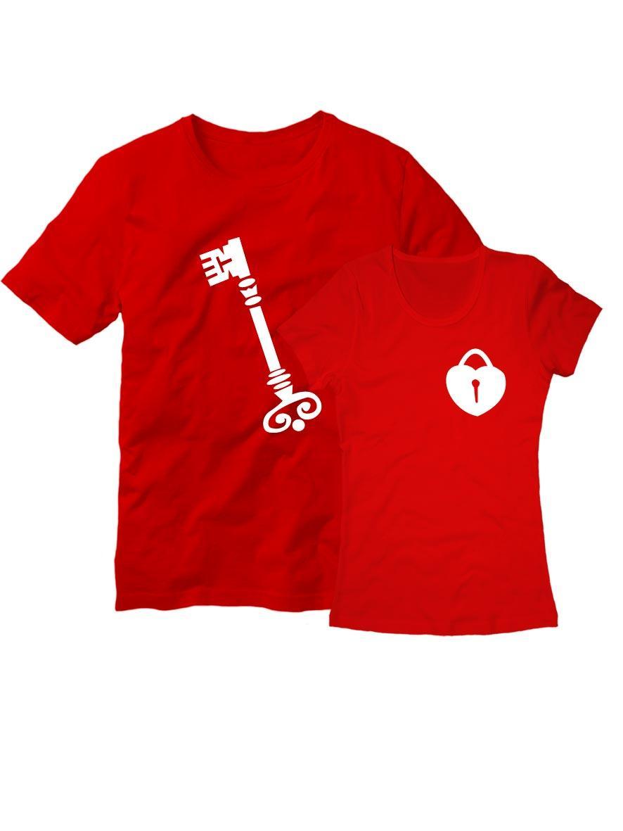 Парные футболки Ключ с замком красные