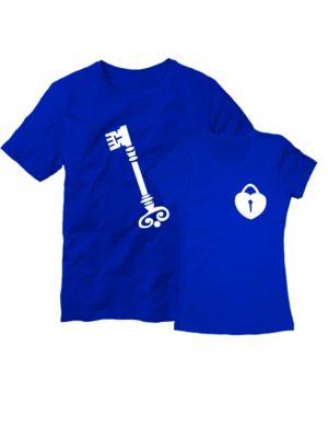 Парные футболки Ключ с замком синие