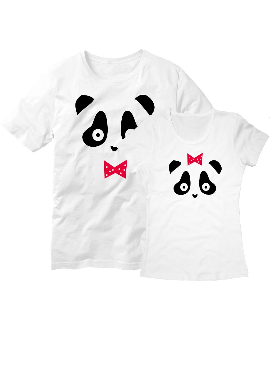 Парные футболки Панда белые