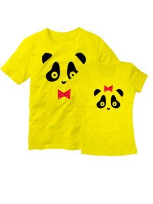 Парные футболки Панда желтые