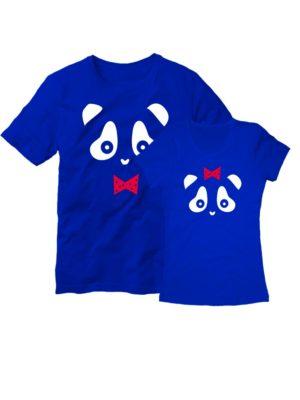 Парные футболки Панда синие