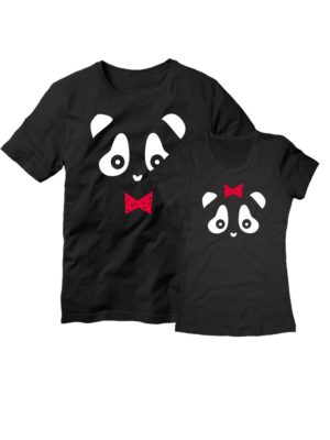 Парные футболки Панда черные