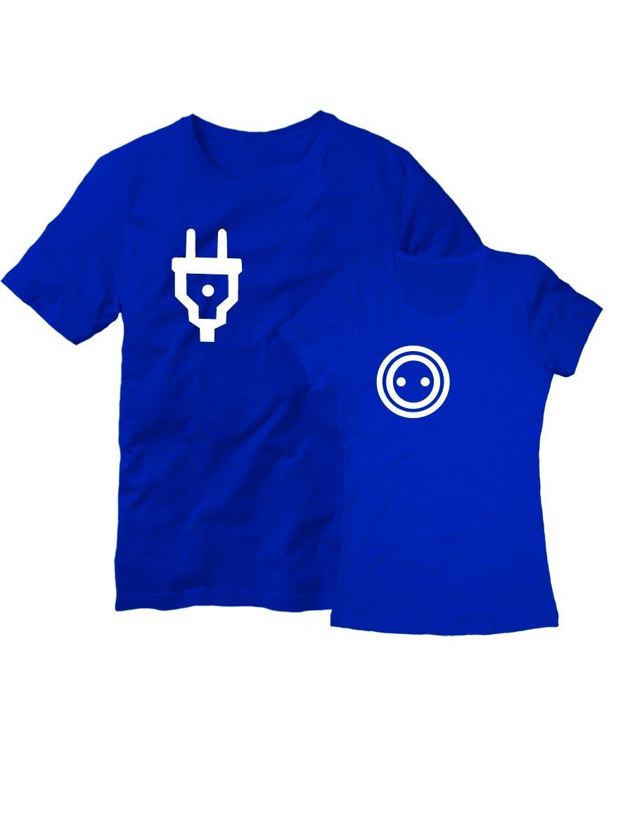 Парные футболки Розетка с вилкой синие
