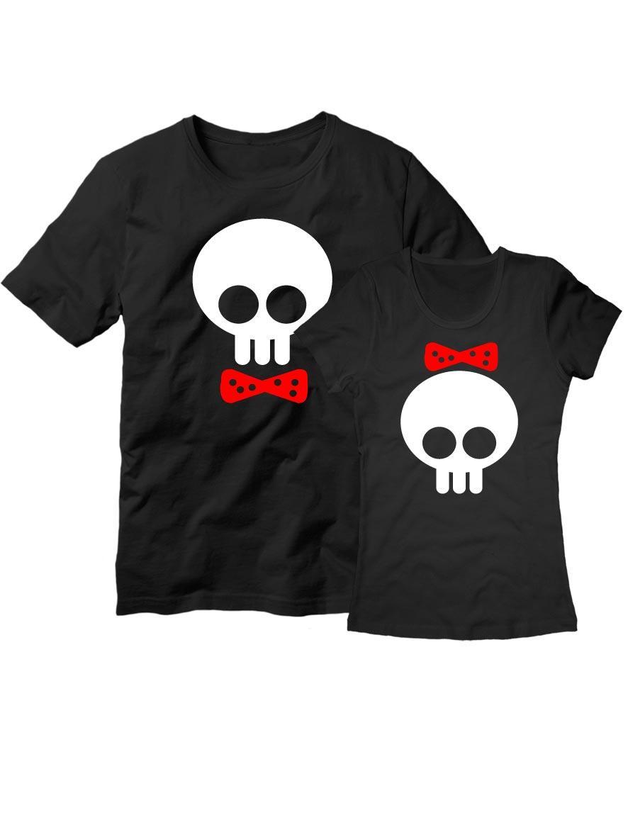 Парные футболки Черепки черные