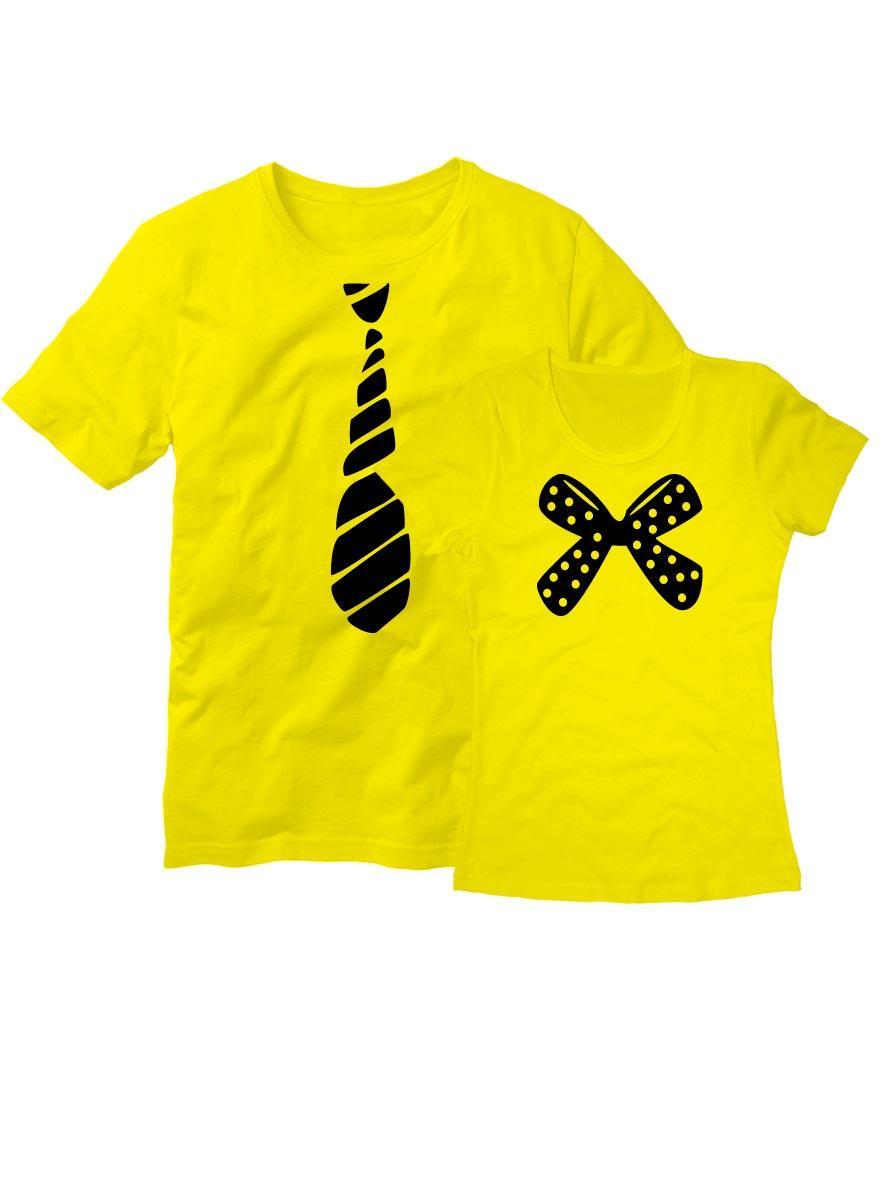 Парные футболки с галстуком желтые