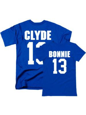 Парные футболки Bonnie Clyde синие