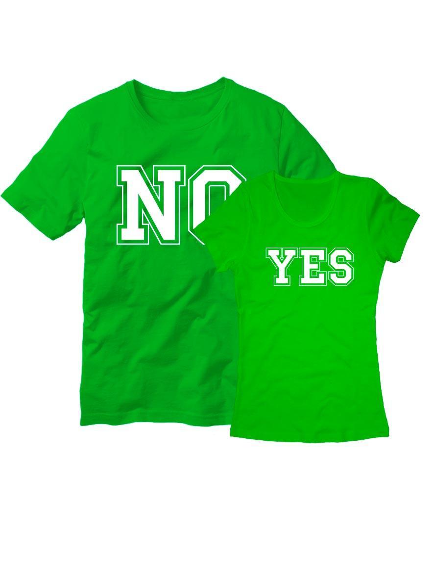 Парные футболки Yes-no зеленые