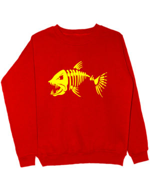 Свитшот Злая рыба красный