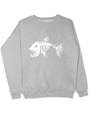 Свитшот Злая рыба серый