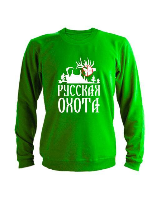 Свитшот Русская охота лось зеленый