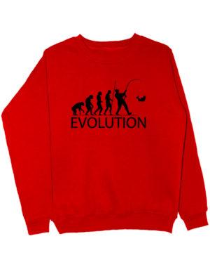 Свитшот Эволюция рыбака красный