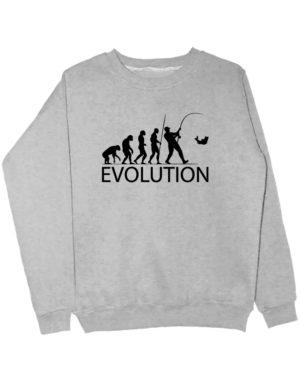 Свитшот Эволюция рыбака серый