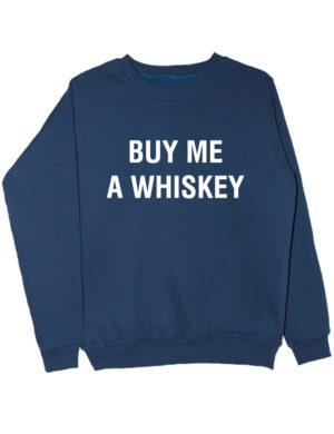 Свитшот Buy me a whiskey индиго