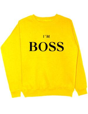 Свитшот I'm boss желтый