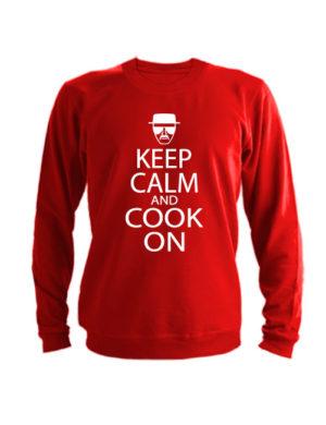 Свитшот Keep calm and cook on красный