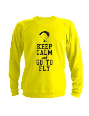 Свитшот Keep calm and go to fly желтый