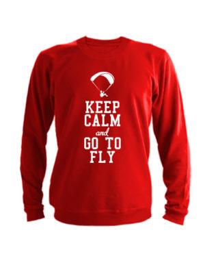 Свитшот Keep calm and go to fly красный