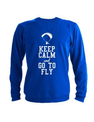 Свитшот Keep calm and go to fly синий