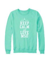 Свитшот Keep calm and love MSU мятный