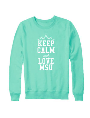 Свитшот Keep calm and love MSU мятный