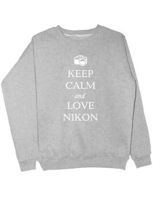 Свитшот Keep calm and love nikon серый
