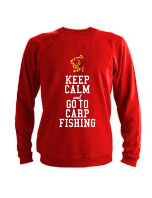 Свитшот Keep calm ang go to carp fishing красный