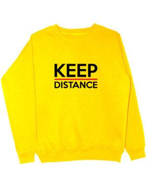 Свитшот Keep distance желтый