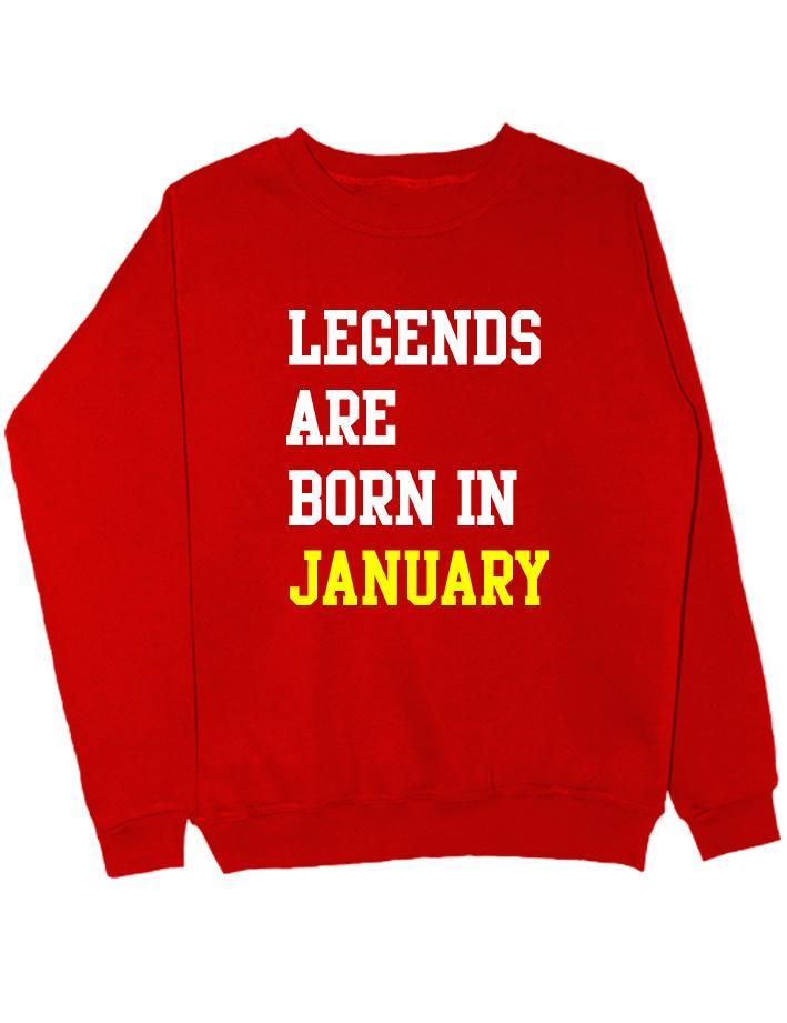 Свитшот Legend are born in january красный