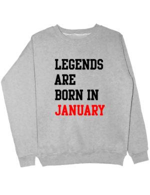 Свитшот Legend are born in january серый